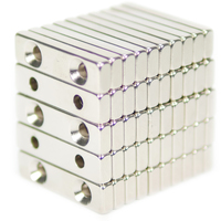 NEODYMIUM MAGNETS | RECTANGULAR WITH COUNTERSUNK HOLE 40X10X5MM N35 NICKEL