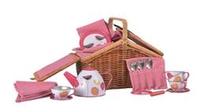 Tin Tea Set Poppies in a Wicker Basket. (Order in 2's)