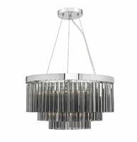 Giovana 5 Light Pendant, Polished Chrome & Smoked Glass | LV1802.0069