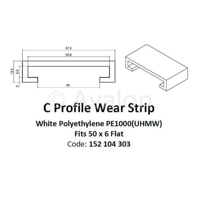 White Side Guide Fits 50mm x 6mm Flat, 10ft Length