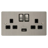 13A 2G STAINLESS STEEL SWITCHED SOCKET WITH USB OUTLET BLACK