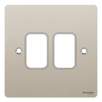 Switch Ultimate 2 Gang Flat Plate Pearl Nickel