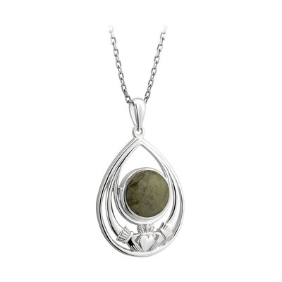 sterling silver connemara marble claddagh pendant s46626 from Solvar