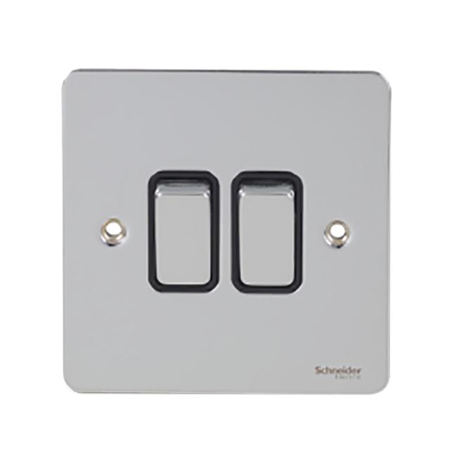 Schneider Flat Plate 2 Gang 2 Way Switch