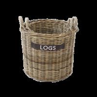 Premium Round Wicker Log Basket (2pce Set W50Xd50Xh45/56)