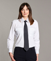 Disley Ladies White Pilot Shirt Long Sleeve