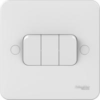 Schneider LWM 3 gang 2 way 10AX plate switch