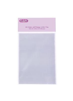 15303 Clr-gift bags-ties 50pk 100 x155mm