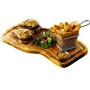Rustic Olive Wood Serving Board with groove 40cm x 21cm