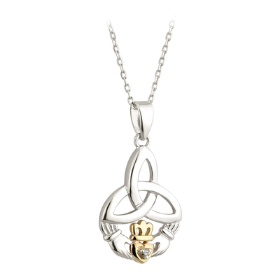 SILVER 10K GOLD & DIA TRINITY CLADDAGH PENDANT(BOXED)