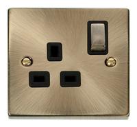 Deco Antique Brass 13A 1G DP Socket