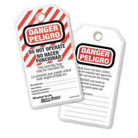Master Lock Do not operate safety tag, spanish/english, laminated