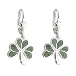 sterling silver connemara marble shamrock drop earrings s33593 from Solvar