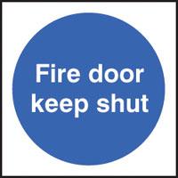 100 S/A labels 100x100mm fire door keep shut