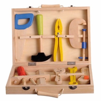 Wooden play tool box with tools