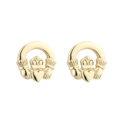 RHODIUM CLADDAGH STUD EARRINGS