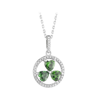 sterling silver green cubic zirconia shamrock circle pendant s46481 from Solvar