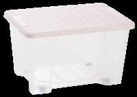 Rattan Lid Storage Box 15L With Wheels Pink