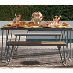 Paulette Outdoor Table and Bench Set (Black) 3