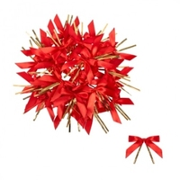 BOW RED SATIN 15MM X 70MM W/TIE TWIST