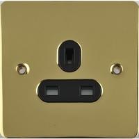 Flat Plate Polished Brass 13A 1G UNSW SKT Black | LV0701.0414