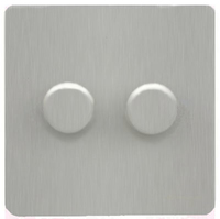 DETA Screwless 2gang Dimmer Satin Chrome | LV0201.0431