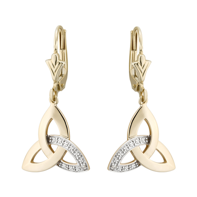 14K DIAMOND TRINITY DROP EARRINGS