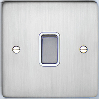 DETA Flat Plate 1gang switch Satin Chrome with White Insert | LV0201.0180