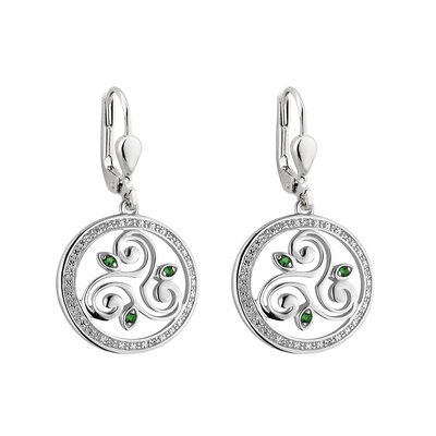 Silver Crystal Spiral Circle Drop Earrings s34115 from Solvar