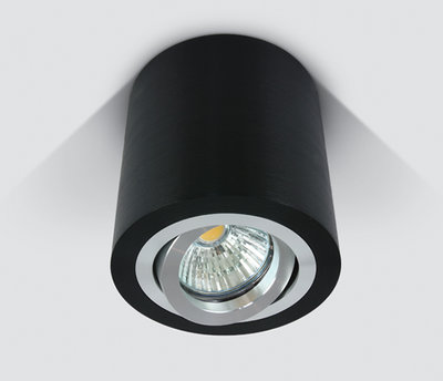 ONE Light Round GU10 Surface Spot Black with Aluminium Trim