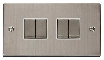 Click Deco Victorian Stainless Steel with White Insert 4 Gang 2 Way 'Ingot' Switch | LV0101.0102