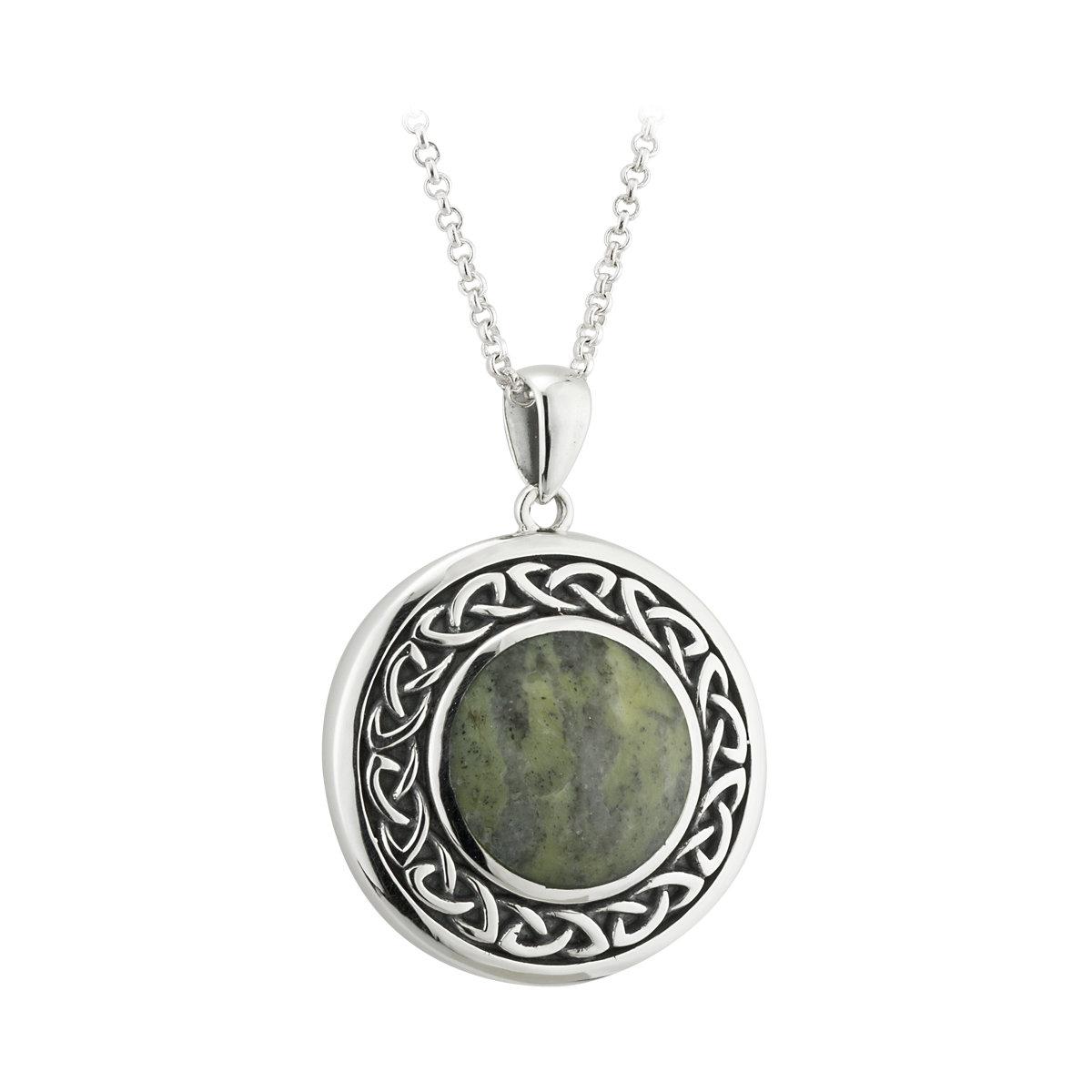 Round connemara marble silver celtic pendant S46133 from Solvar