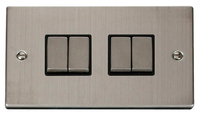 Click Deco Victorian Stainless Steel with Black Insert 4 Gang 2 Way 'Ingot' Switch | LV0101.0078