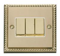 Click Deco Georgian Cast Brass with White Insert 3 Gang 2 Way 'Ingot' Switch | LV0101.0054