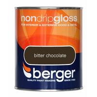 BERGER NON-DRIP GLOSS PAINT BITTER CHOCOLATE 750 ML
