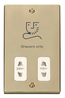 Click Deco Victorian Polished Brass with white Insert Dual Voltage Shaver | LV0101.1808