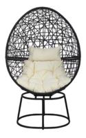 Swivel Egg Chair, Charcoal Rattan Ivory Cushion
