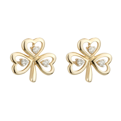 14K DIAMOND SHAMROCK EARRINGS(BOXED)