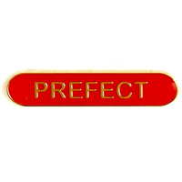 Prefect - Bar Shaped School Badge (Red)