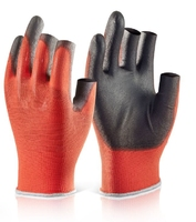 PU Coated 3 Fingerless Glove