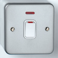 DETA METAL SURFACE METAL SWITCH DOUBLE POLE  20A  WITH NEON INDICATOR