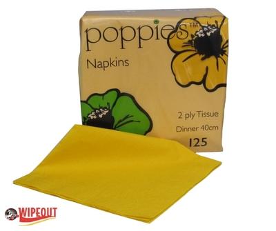 Dinner Napkins Yellow 40cm 2ply c/s 2000