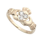 ladies 14k gold diamond irish claddagh ring s21021 from Solvar
