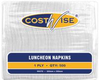 Luncheon Napkin White 1Ply 4 Fold 6Pkts of 500