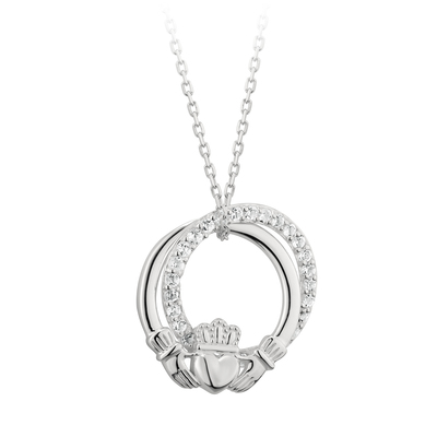 STERLING SILVER CLADDAGH CIRCLE PENDANT