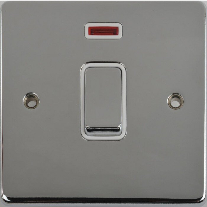 Schneider Ultimate Low Profile 20Amp Double Pole switch with flex outlet Polsihed Chrome with Whiet Insert   LV0701.0232