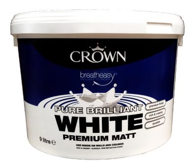 Crown Matt Emulsion 9ltr Brilliant White