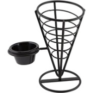 Chip Cone 1 Ramekin Well 21.5cm Black