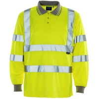 Supertouch Hi Vis Long Sleeve Bird Eye Polo Shirt Yellow