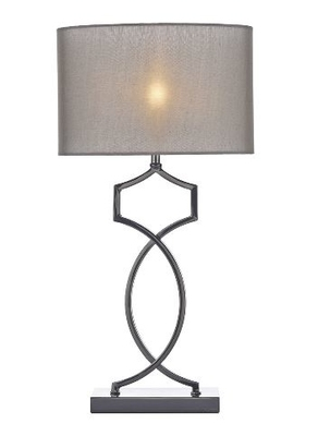 Donovan Table Lamp, Black Chrome Complete with Shade | LV1802.0125